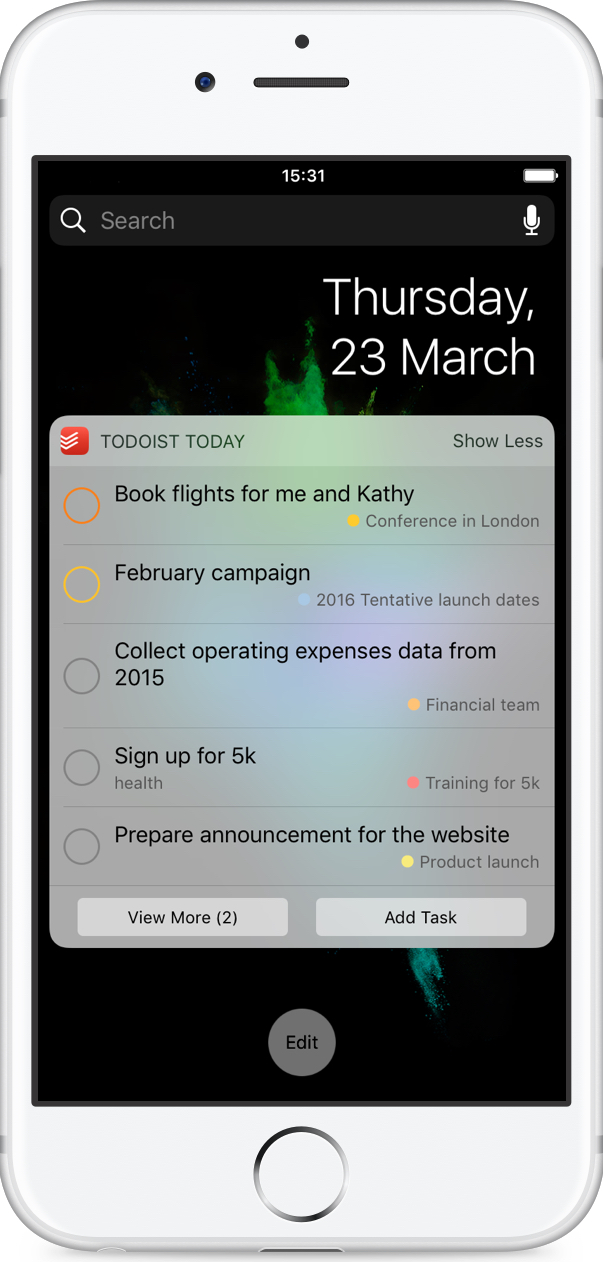 Add a Todoist widget on your iOS device – Todoist Help