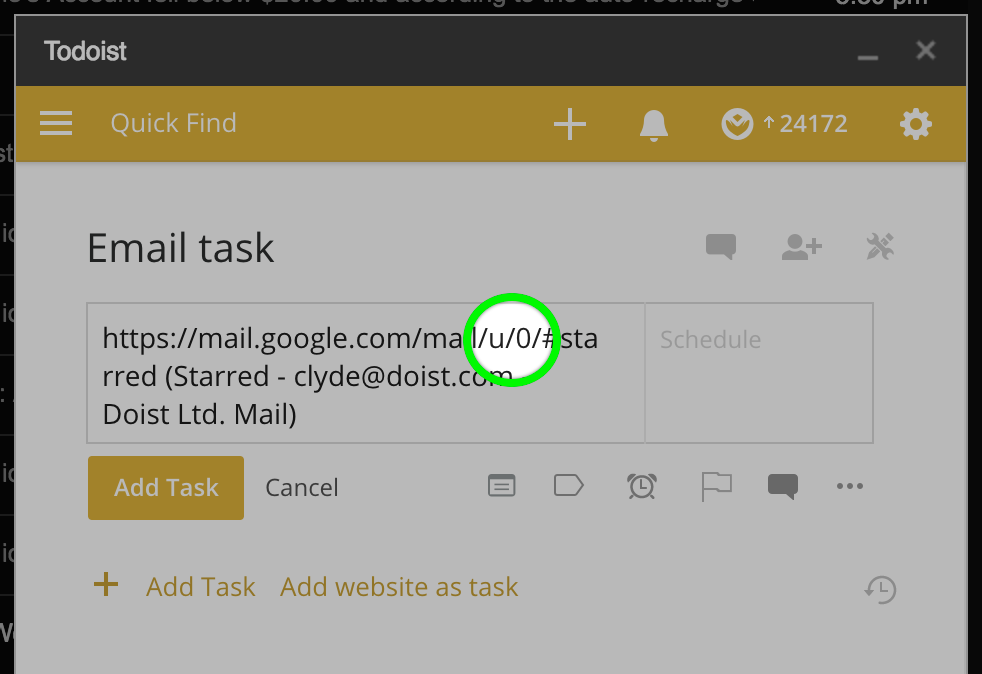 Tasks created in the Gmail extension open a different Gmail account